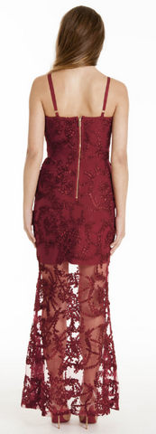 MATTEO - Sue Red Lace Dress - Designer Dress hire