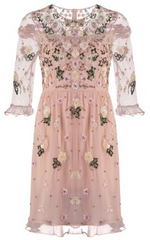 add to wishlist needle thread floral embroidered pink dress designer dress hire