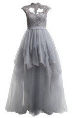 UNIQUE - Mirabel Grey Gown - Designer Dress Hire