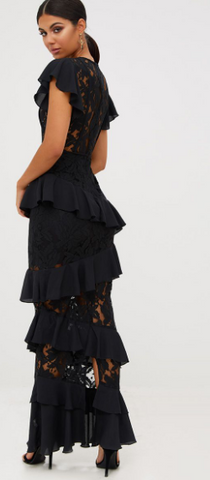 PLT - Lace Ruffle Maxi Dress - Designer Dress hire