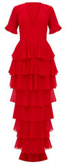 PLT - Ruffle Layer Maxi Dress - Designer Dress Hire