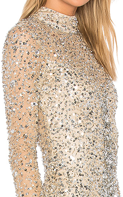 PARKER - Leandra Nude Sequin Gown - Designer Dress hire