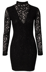 PEARL - Collared Lace Dress Black - Rent Designer Dresses at Girl Meets Dress