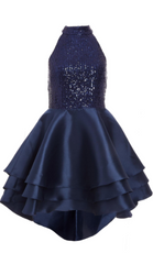 QUIZ - Navy Sequins Halter Neck Dress - Rent Designer Dresses at Girl Meets Dress