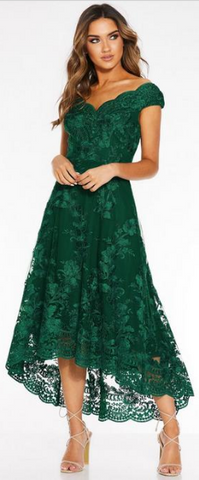 QUIZ - Green Embroidered High Low Dress - Designer Dress hire