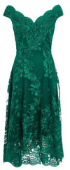QUIZ - Green Embroidered High Low Dress - Rent Designer Dresses at Girl Meets Dress