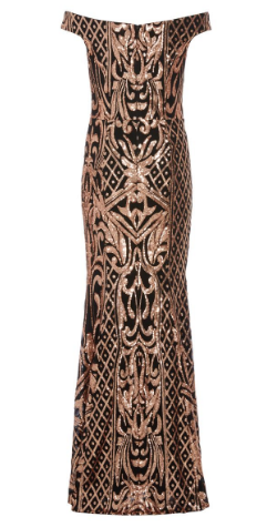 QUIZ - Black Rose Gold Bardot Dress - Designer Dress hire