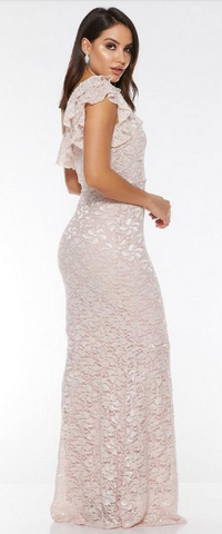 QUIZ - Nude Glitter Lace Maxi Dress - Designer Dress hire