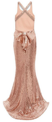 QUIZ - Rose Gold Sequin Maxi Dress - Designer Dress hire