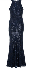 QUIZ - Navy Sequin Mermaid Gown - Rent Designer Dresses at Girl Meets Dress