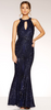 QUIZ - Navy Sequin Mermaid Gown - Designer Dress hire
