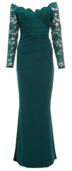 QUIZ - Green Bardot Lace Fishtail Gown - Rent Designer Dresses at Girl Meets Dress