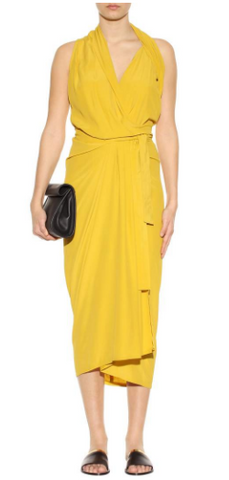 RICK OWENS - Yellow Wrap Dress - Designer Dress hire