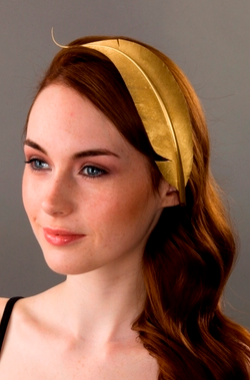 Rachel Black Millinery - Gold Floating Feather - Designer Dress hire