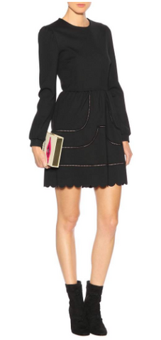 RED VALENTINO - Scalloped Sleeved Dress - Designer Dress hire