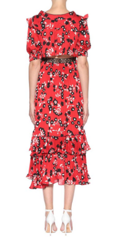Self Portrait - Floral Printed Midi Dress - Designer Dress hire