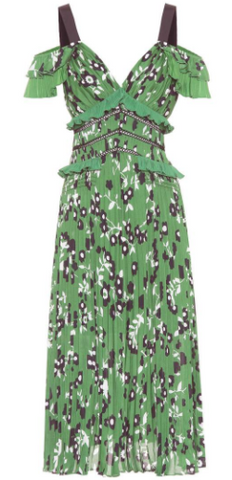 Self Portrait - Green Cold-Shoulder Dress - Designer Dress hire