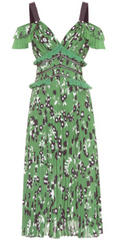 Self Portrait - Green Cold-Shoulder Dress - Rent Designer Dresses at Girl Meets Dress