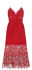 Self Portrait - Floral Red Midi Dress - Rent Designer Dresses at Girl Meets Dress