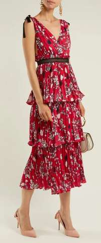 Self Portrait - Pleated Floral Midi Dress - Designer Dress hire
