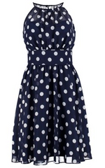 SWING - Spotted Navy Dress - Designer Dress Hire