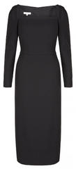 SUZANNAH - Alice Black Wool Crepe Dress - Designer Dress Hire