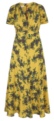 SUZANNAH - Ochre Faraway Floral Tea Dress - Designer Dress Hire