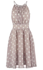 SWING - Spotted Taupe Dress - Designer Dress Hire