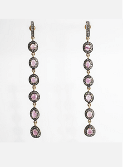 KNIGHTSBRIDGE ROCKS - Tourmaline and Diamond Ear Pendants - Designer Dress hire
