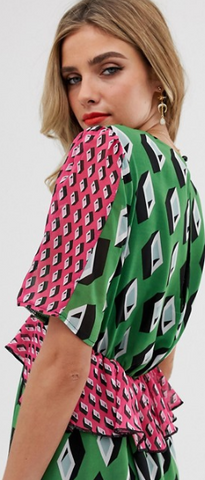 TWISTED WUNDER - Green Geo Print Maxi - Designer Dress hire
