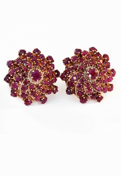 KNIGHTSBRIDGE ROCKS - Vintage Ruby Bombé Earrings - Designer Dress hire