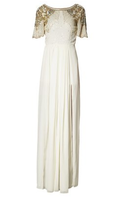 2ed93ca79f Amazing white beaded gown by VIRGOS LOUNGE. Short sleeves and stunning  beaded detailing on sleeves – this is a perfect colour choice for drawing  compliments ...