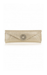 WILBUR AND GUSSIE - Alice Gold Glitter Clutch - Designer Dress Hire