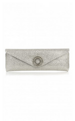 WILBUR AND GUSSIE - Alice Silver Glitter Clutch - Designer Dress Hire