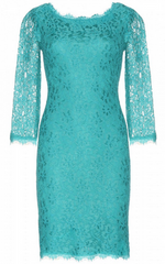 DIANE VON FURSTENBERG - Zarita Lace Dress Teal - Designer Dress Hire