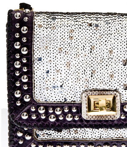 ANGEL JACKSON - Studded Sequin Satchel - Designer Dress hire