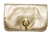 WILBUR AND GUSSIE - Harriet Clutch Gold - Designer Dress Hire
