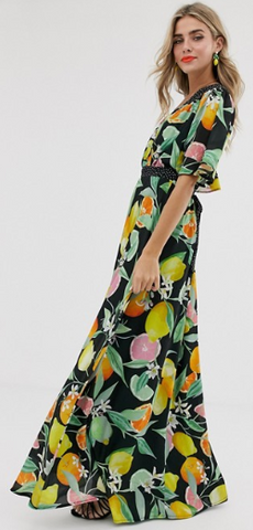 TWISTED WUNDER - Chiffon Maxi Lemon Dress - Designer Dress hire