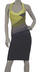 HERVE LEGER - Green and Grey Dress - Designer Dress Hire