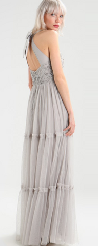 MAYA - Mikayla Silver Beaded Gown - Designer Dress hire