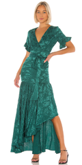 PRIVACY PLEASE - Green Chrysanthemum Gown - Designer Dress Hire
