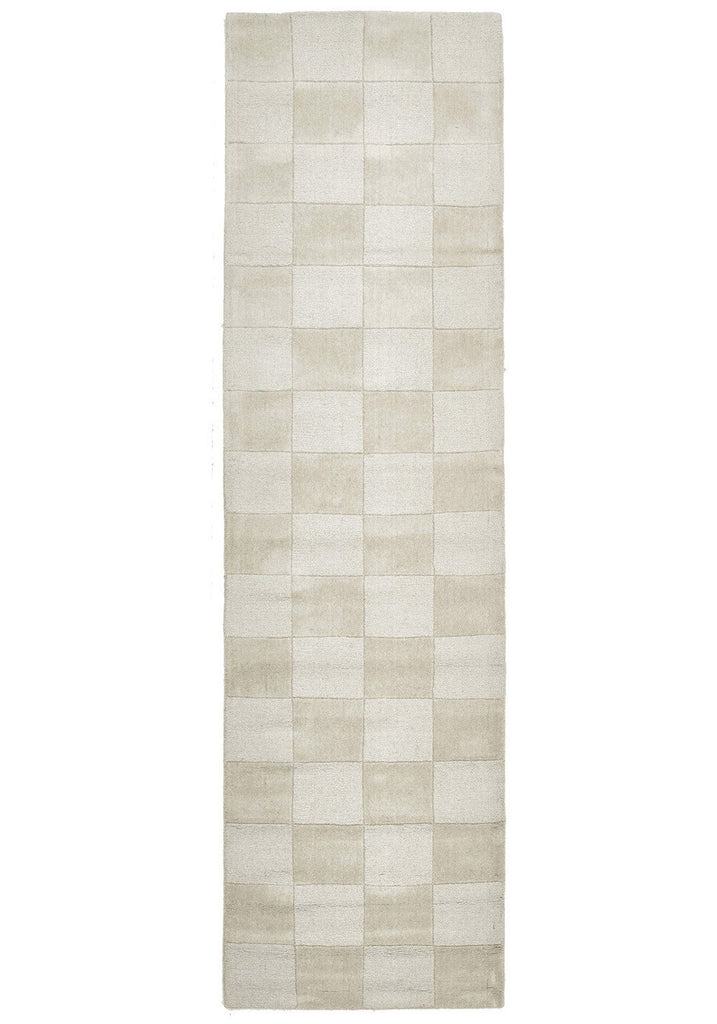 Timeless Boxed Pattern Wool Runner Rug Oatmeal