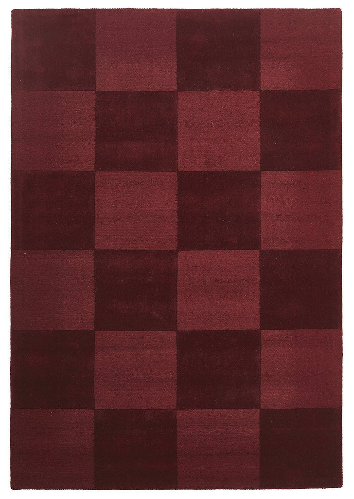 Timeless Boxed Pattern Wool Rug Red