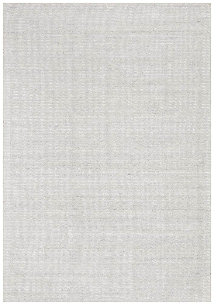 Hand Loomed Sky White Cotton Rayon Rug