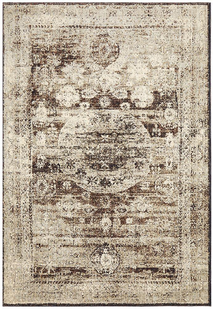 Industrial Brown & White Rug