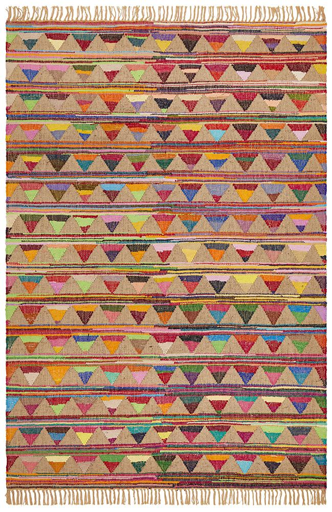 Flat-Weave Multi Colour Jute & Cotton Bunting Rug