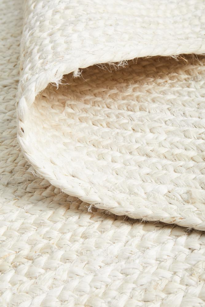 Jute Handmade Braided White Runner Rug