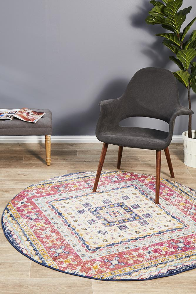 Babylon Geometric Multi Colour Round Rug