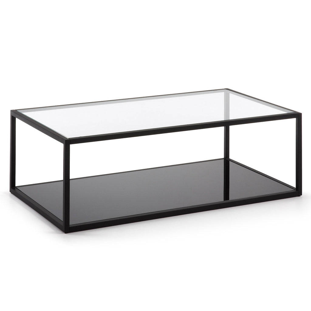 Coffee Table - Clear Glass, Black Metal