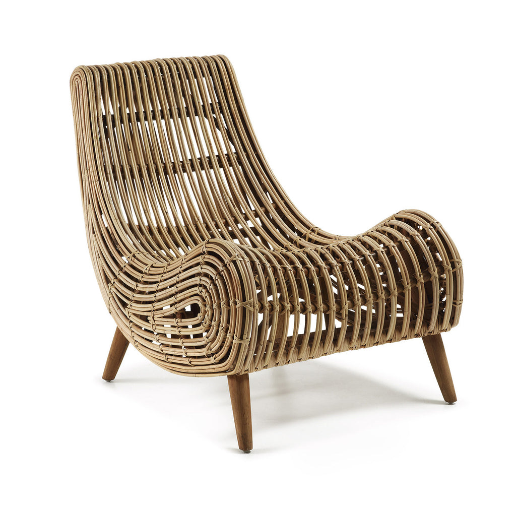 Akit Armchair Wood Legs Tan Rattan